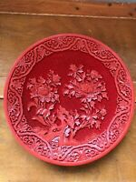 Vintage Made in Taiwan Deeply Carved Red Cinnabar Poppy Flower Asian Oriental Pl