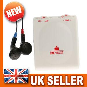 Pocket Portable FM Radio - Stereo Earphones Headphones - Belt Clip - WHITE Mini