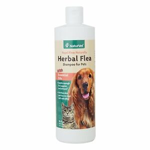 NaturVet Herbal Shampoo Flea and Tick Natural Rosemary for Dog and Cat 16 oz