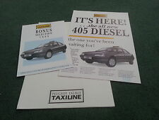 1988 PEUGEOT 405 GLD / GRD SALOON TAXI + 309 505 TAXI - 3 PIECE UK BROCHURE