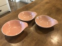 Set of 3 - VINTAGE Steubenville Russel Wright Lugged Coral / Pink Soup Bowls MCM