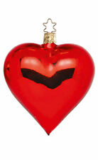 Inge Glas Red Heart Shiny 12002T041A German Glass Christmas Ornament