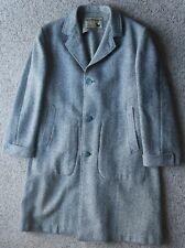 Vtg 50's Samuel Martin London England 3 Btn Fleck Tweed Wool Overcoat 44 46