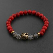 Men Natural Red Lava Stone Gold Owl Beaded Cuff Charm Bangle Bracelets 7.5''