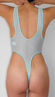 Body Bodysuit Teddy Playsuit offen XL BLAU BLEU transparent unisex glänzend