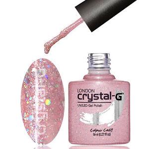 CRYSTAL-G - D16 BABY PINK DIAMOND GLITTER SHIMMER UV LED GEL NAIL POLISH VARNISH