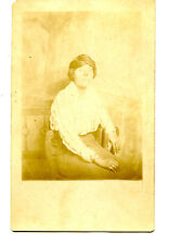 Lady Named Alice-Hair Wrap-Studio Portrait-RPPC-Vintage Real Photo Postcard