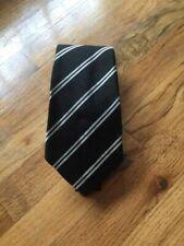 RALPH LAUREN Purple Label Tie, Black w White Stripes. Italy. Excellent!