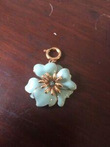 Turquoise / aqua enamel flower charm