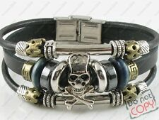 Gothic Surfer Black Leather Bracelet Wristband Womens Mens Skull & Crossbones