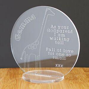 Personalised Godparent Godchild Plaque Christening Baby Engraved Keepsake Gift