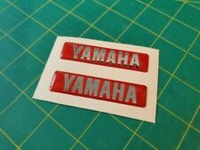 x2 YAMAHA RESIN DOMED STICKERS / DECALS RED / CHROME SILVER
