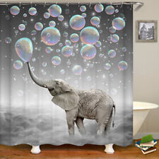Shower Curtains Animal Elephant dreamy colorful bubble bathroom waterproof