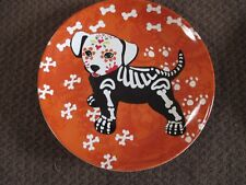 "NEW HALLOWEEN Skeleton Pet ""Puppy Dog"" Plate, Sugar Skull Style, So Cute!"
