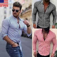 US Luxury Fashion Men's Slim Fit Shirt Long Sleeve Dress Shirts Casual Shirt Top