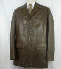 Vintage 70's Wilsons Men Brown Large 40 Leather Jacket Coat  Funky Retro Hippie