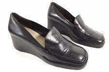 Nine West womens black leather low wedge heel shoes uk 6