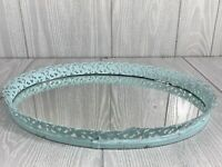 "Vintage Round Mint Green Toned Metal Edge 13.5"" Vanity Mirror"