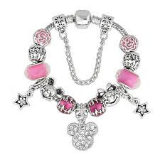 Rosa Disney Mickey Minnie Mouse Pandora Braccialetto & Charms Compleanno San Valentino