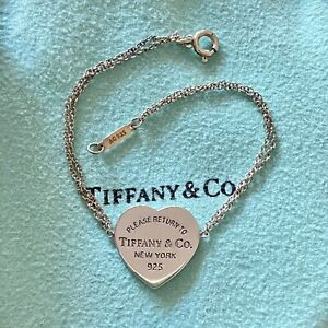 Authentic Tiffany & Co Silver RTT Return To Heart Tag Double Chain 16cm Bracelet