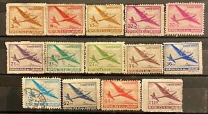 URUGUAY - AIR MAIL - LOT OF 14 USED STAMPS
