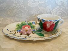 Collectible ITALIAN Hand Painted Roses&Daisies Ceramic Luncheon/Snack Plate &Cup