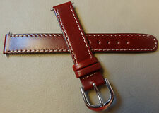 New Timex Burgundy Stitched Oiled Leather 14mm Watch Band Silver Tone Buckle