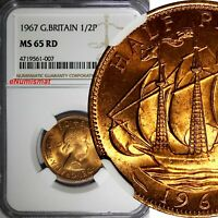 GREAT BRITAIN Elizabeth II 1967 1/2 Penny NGC MS65 RD FULL RED TONING KM# 896