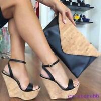 Summer Beach Casual Womens High Wedge Heel Platform Open Toe Sandals Shoes 34-45