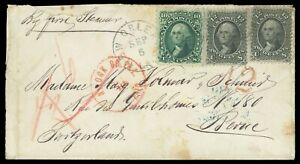 12¢ #69 (2), 10¢ #68 on 1867 New Orleans LA cover to Switzerland, cat $245++