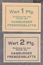 Hamburg -Hamburger Fremdenblatt- 1 Pf. und 2 Pf. Kartonscheine