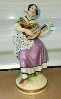 "Antique German Potschappel Porcelain Figurine, Woman with Guitar, 6.5"" H."