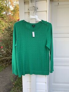 NWT Talbots Pretty Kelly Green Button Shoulder Long Sleeve Sweater 2X 18W 20W