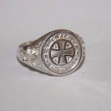 Men Christian signet ring with an Orthodox cross, made in Silver 925