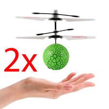 2 X MAGIC GREEN ELECTRIC FLYING HELICOPTER INFRARED SENSOR LED LIGHT KIDS BALL