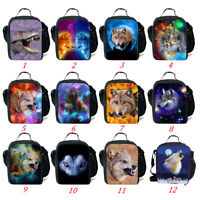 Wolf Insulated Lunch Bag Kids Boys School Picnic Food Cooler Box Animal Print
