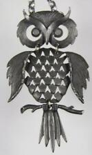 Vintage Retro Articulated Jointed Pewter Owl Pendant With A Long Hammered Chain