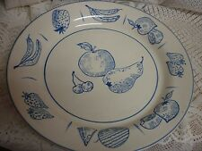"EVANDALE 11"" Dinner Plate - White w/ Blue Fruit Pattern GREAT"