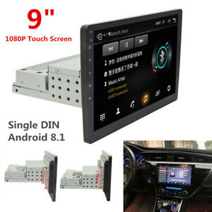 """Single DIN 9"""" Touch Screen Android 8.1 Car Stereo Radio GPS WiFi w/ Rear Camera"""