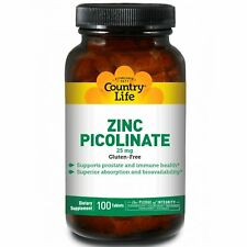 Country Life Zinc Picolinate 25 mg 100 Tablets Gluten-Free, Gmp Quality Assured
