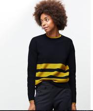 RRP £199 JIGSAW Navy & Yellow Striped 100% wool jumper, UK MEDIUM