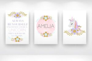 Set Of 3 - A4 Personalised Unicorn Print ANY Name Gift Pretty Pink