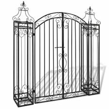 "vidaXL Garden Gate 4'x8""x4'5"" Wrought Iron Ornamental Outdoor Estate Entryway"