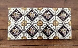 Set Of 8 ~ 19th C. Victorian EASTHETIC MOVEMENT Fireplace Fire Surround Tiles