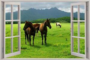 Huge 3D Window view Wild Horses Grazing Wall Sticker Mural Art Decal 227