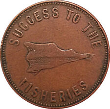 1857 1/2 PENNY PRINCE EDWARD ISLAND CANADA CANADIAN FISHERIES PLOUGH COIN TOKEN