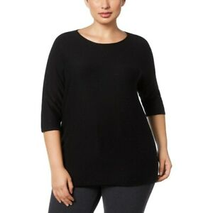 NEW Anne Klein Women's Plus Pullover Sweater Jeweled Short Sleeves Black Size 1X