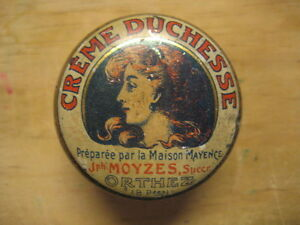 Antique Metal Box Of Farmacia. Creme Duchesse. Strengthens The Cabello. French