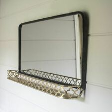 Large Black Wall Hung Mirror with Brass Shelf, Rectangular Vintage Style
