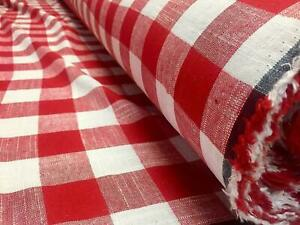 Gingham Linen Checked Linen Fabric Plaid Material - 55'' wide- RED&WHITE Square